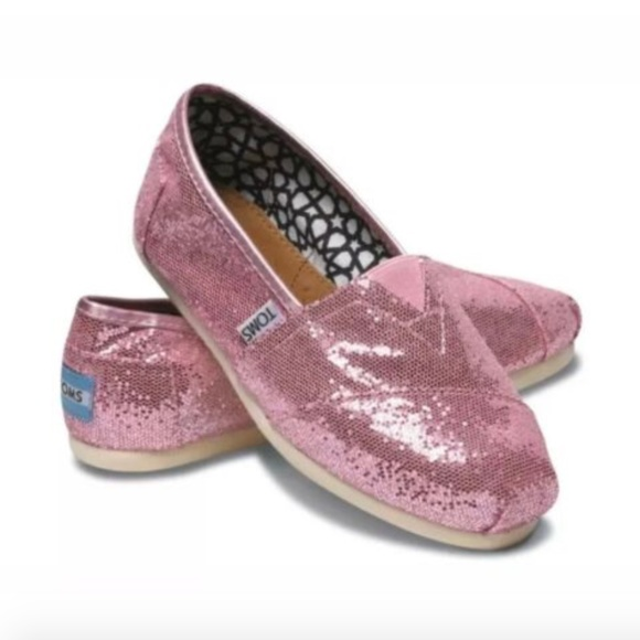 Toms Classic Womens Rose Pink Glitter